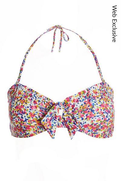 Multicoloured Floral Bikini Top